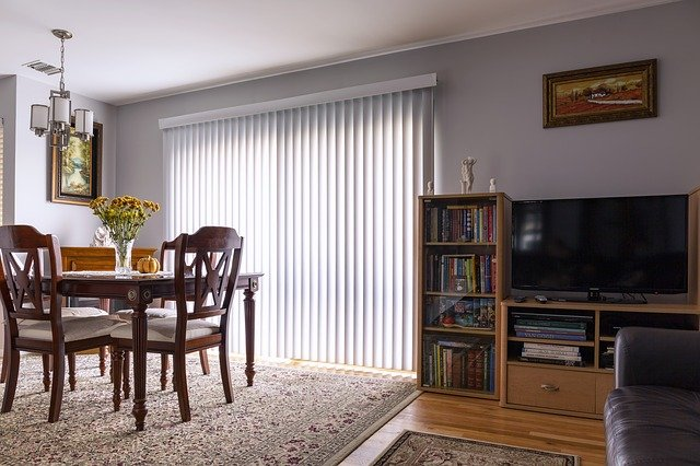 home interior with blinds